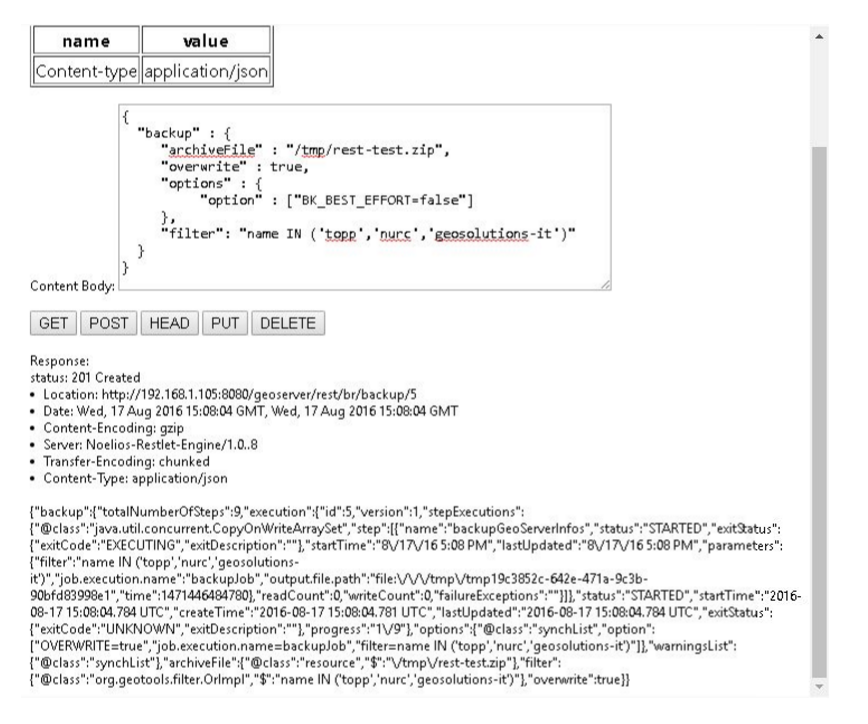 Usage Via GeoServer's REST API — GeoServer 2 16 x User Manual