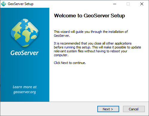 Windows installer — GeoServer 2 14 x User Manual
